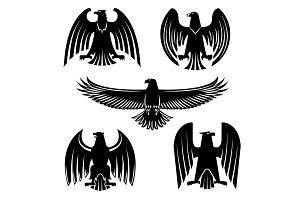 Black eagle, hawk or falcon heraldic symbol set