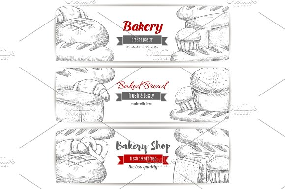 Bakery Bread And Pastry Shop Sketch Banner Set