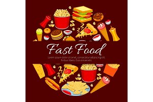 Fast food round symbol for takeaway menu design