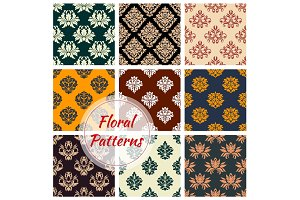 Damask seamless pattern with floral ornament