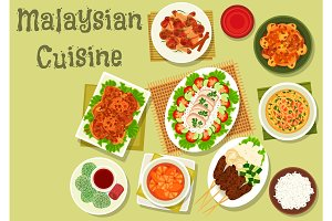 Malaysian cuisine icon of dinner with dessert