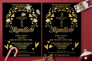 Gold Baptism Heart Invitation Card