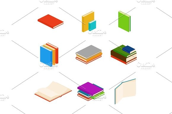 Isometric Books Encyclopedia Dictionary Novel Document Vector Symbols