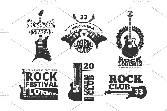 Vintage Heavy Rock Jazz Band Guitar Shop Music Vector Logos And Labels Set With Acoustic Guitars