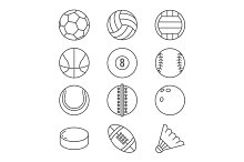 Sports balls vector thin line icons. Basketball, soccer, tennis, football, baseball, bowling, golf, volleyball