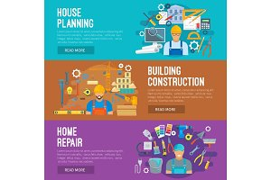 Building industry banner set design