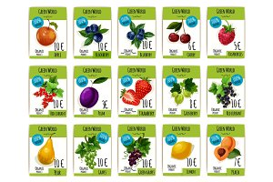 Fruit and berry price tag, label, product card set