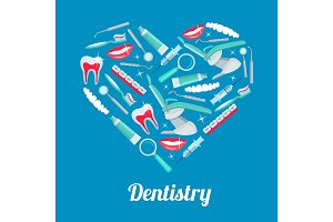 Heart with dentistry icon for dental health design