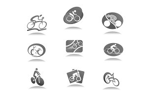 Cycle sport and bicycle icon for bike race design