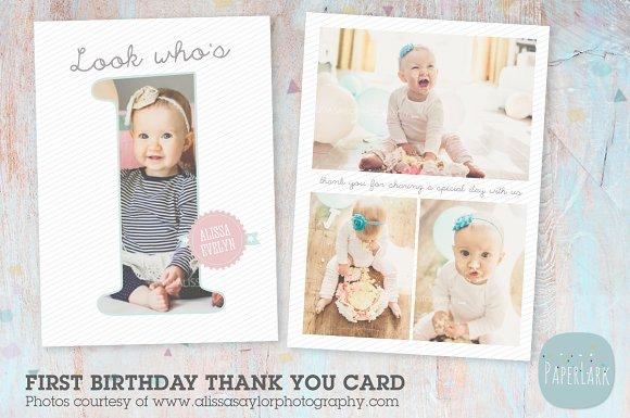 Af001 First Birthday Card Card Templates Creative Market