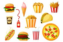 Fast food dishes with drink and dessert icon set