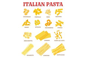 Italian cuisine pasta list poster for food design