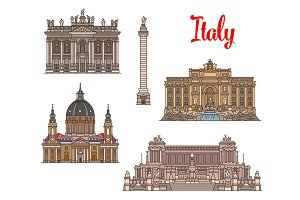 Italian travel landmarks and sightseens