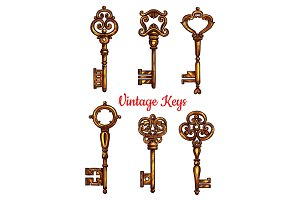 Vintage key and skeleton isolated sketch set
