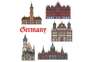 German travel landmark thin line icon set