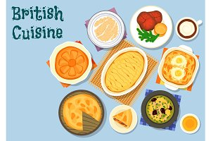 British cuisine lunch menu icon for food design