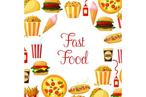 Fast food meal, drinks, dessert and snacks poster