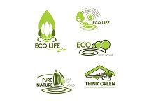 Eco life, think green icon set for ecology design