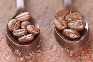 Chocolate spoons with coffee beans