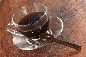 Chocolate spoon and coffee