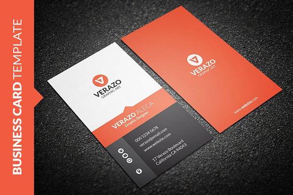 Sleek vertical business card business card templates creative market colourmoves Image collections