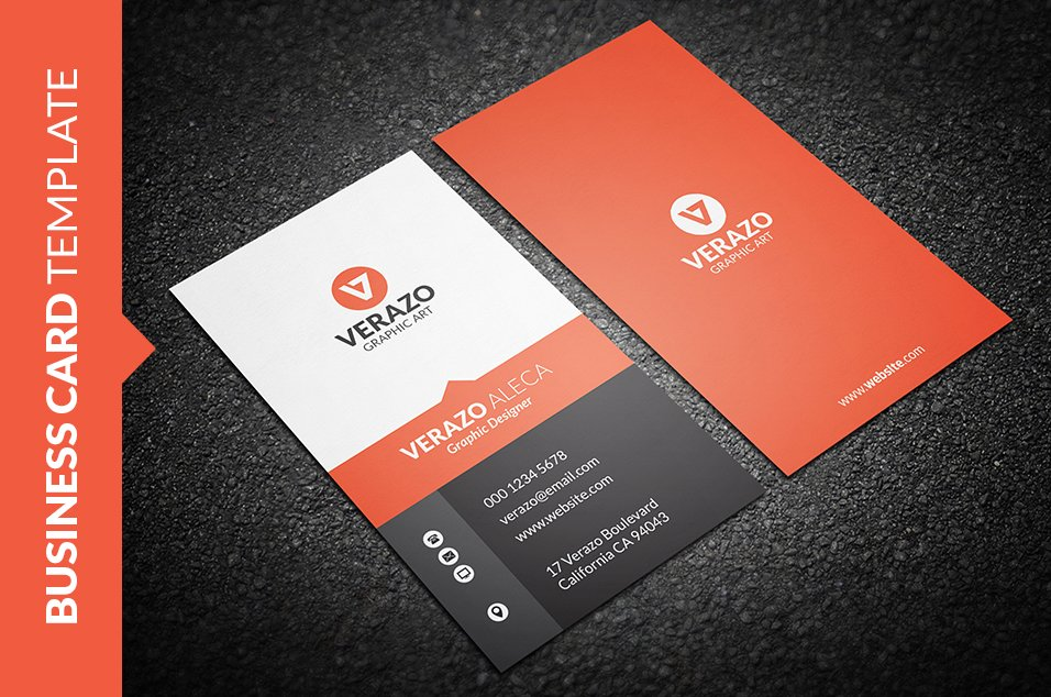 Sleek Vertical Business Card ~ Business Card Templates ~ Creative Market