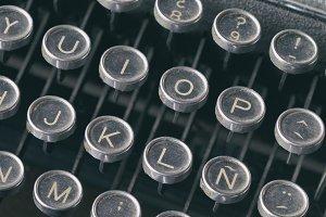 Close-up keyboard of typing machine