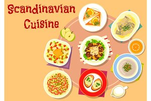 Scandinavian cuisine fish dishes icon design