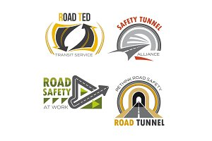 Road and highway isolated symbol set