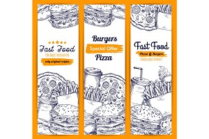 Fast food meal sketch banners set