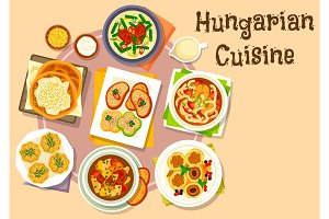 Hungarian national cuisine icon for menu design