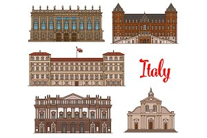 Italian tourist sights icon set for travel design