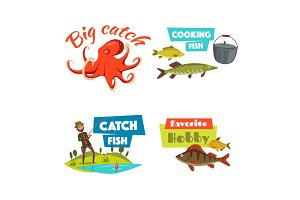 Fishing sport and hobby cartoon icon set