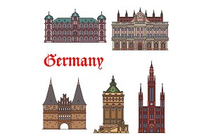German tourist sight and travel landmark icon set