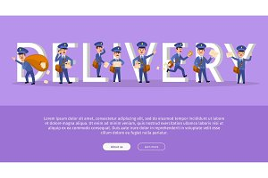 Delivery Service Web Banner with Cartoon Postman
