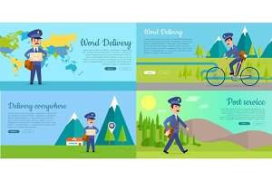 Post Service Vector Cartoon Web Banners Set