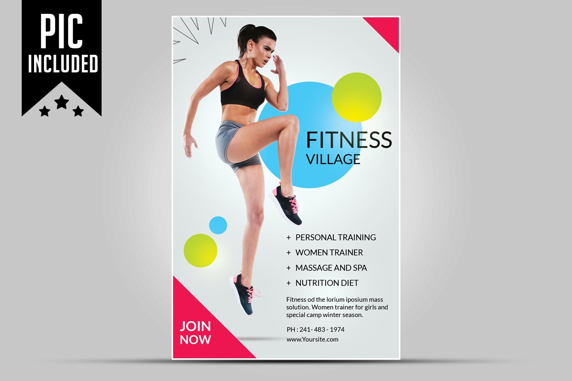 Fitness flyer gym flyer flyer templates creative market reheart Choice Image