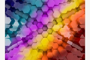Hexagon abstract rainbow background