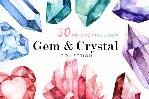 Gem & Crystal Watercolor Collection