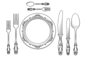 Engraving cutlery and dinner plates