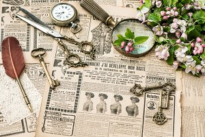 Antique accessories flat lay