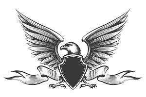 Engraving eagle emblem