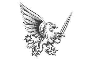 Engraving griffin with sword