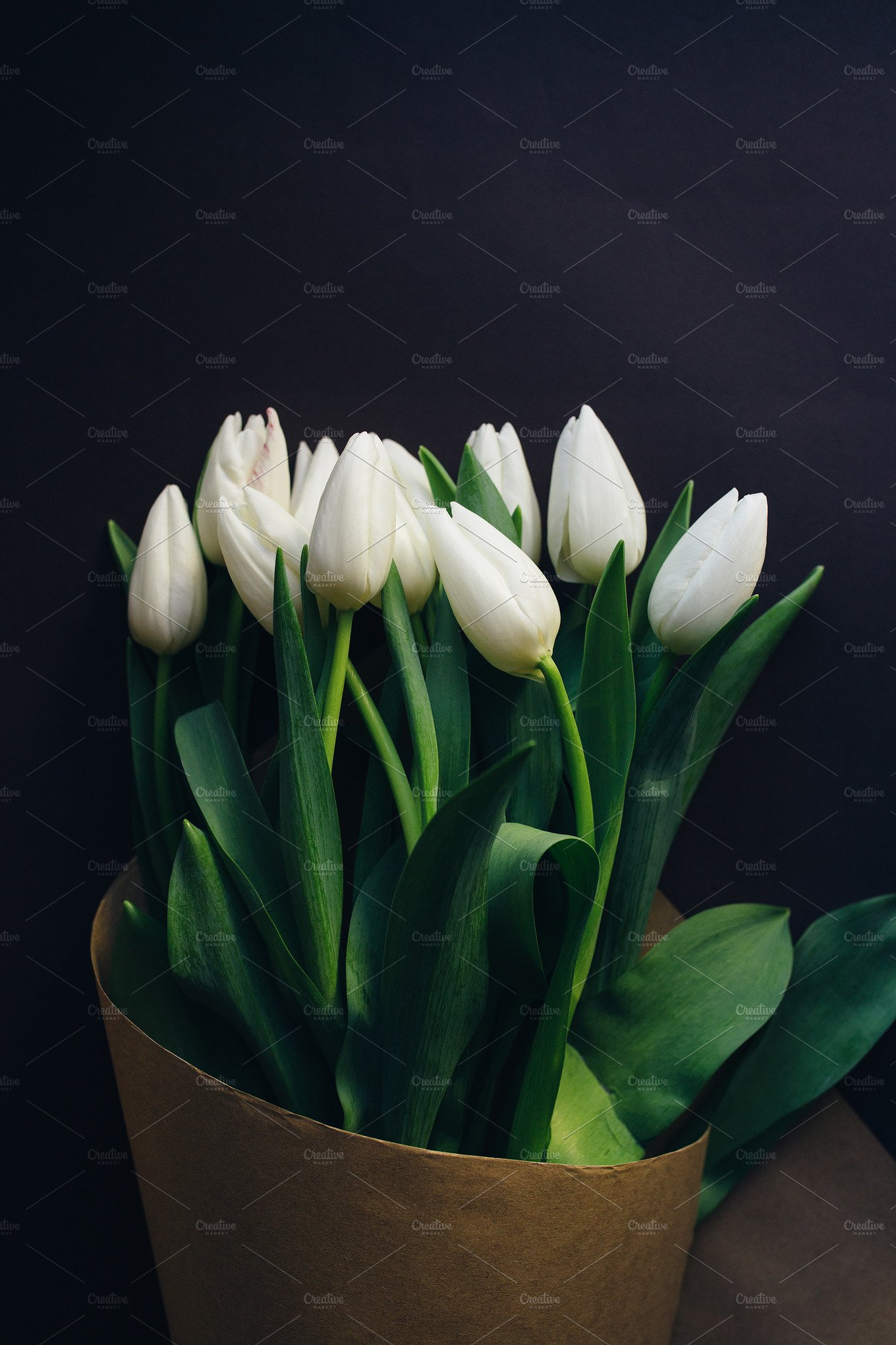 White Tulips Bouquet High Quality