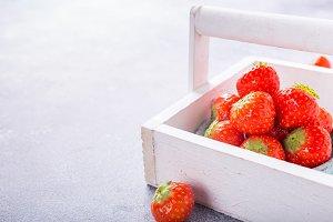 Fresh strawberries in white box