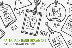 Sales tags hand drawn set
