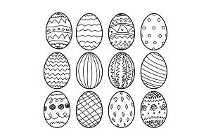 Easter eggs Hand drawn decorative elements in vector for coloring book. Black and white decorative pattern