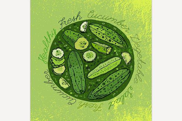 Cucumbers Hand Drawn Image