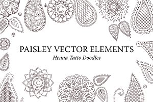Set of Paisley Henna Tattoo Elements