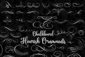 Chalkboard Flourish Ornament clipart